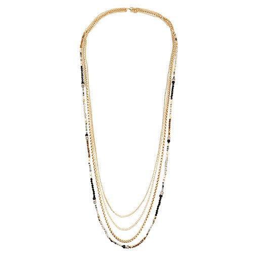 D EXCEED Jewelry Womens Multi Strand Necklace Glass Beaded Sweater Neck Chain Necklace