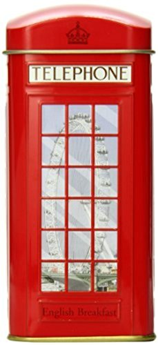 English Tea Caddy - Ahmad Tea 20 Teabag Caddy Gift Tin, London Phone, English Breakfast, 1.4 Ounce