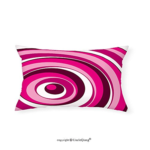 VROSELV Custom pillowcasesAbstract Vibrant Spiral Turning Circles Bands in Various Shades Creative Artwork for Bedroom Living Room Dorm Maroon Hot Pink White(20''x30'') by VROSELV