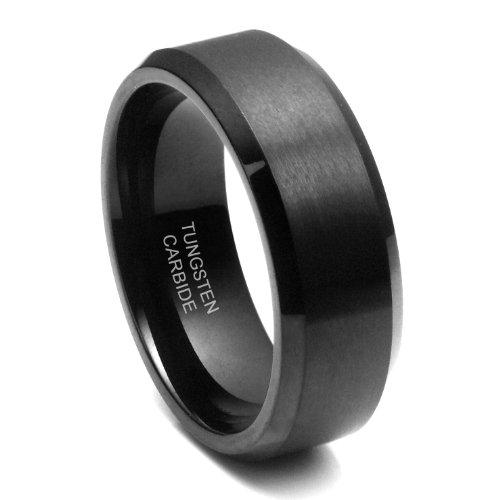 8MM Black High Polish / Matte Finish Men's Tungsten Beveled Ring Wedding Band Sz 8.5