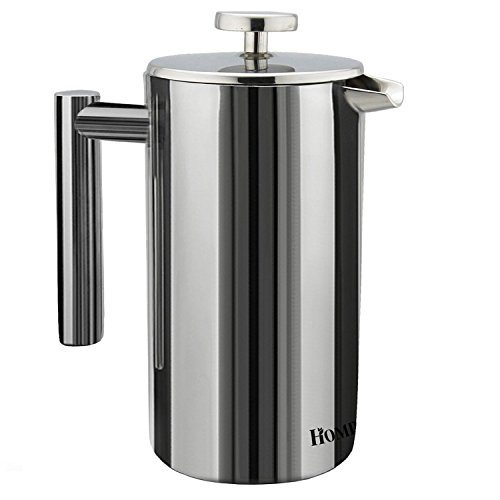 Homdox French Press Counterpart Wall Stainless Steel Coffee Maker 1 Liter , 34 Oz