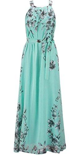 Buy belted chiffon print dress - 4