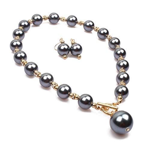 (Thkmeet Simple Elegant Faux Pearl Choker Pendant Necklace Earrings Set (Grey))
