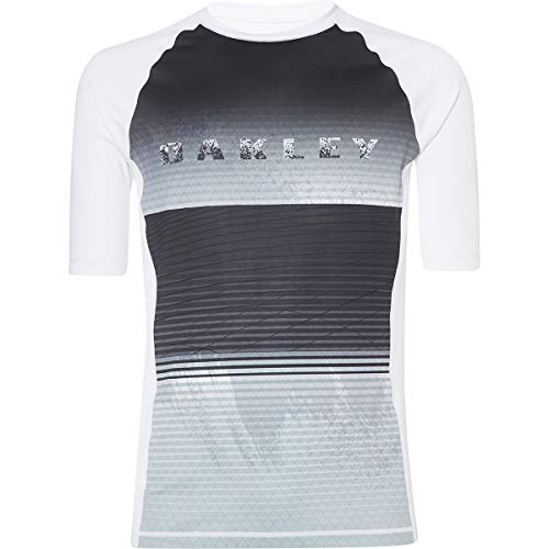 Oakley Mens Men's Asymmetrical Dynamic Rashguard, White, L (Rash Oakley Guard)