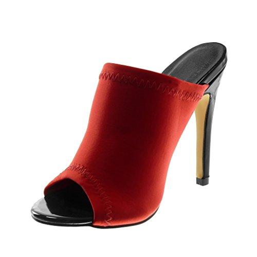 Angkorly Damen Schuhe Mule Pumpe - Slip-On - Stiletto - Peep-Toe - Fertig Steppnähte Stiletto High Heel 12 cm Rot