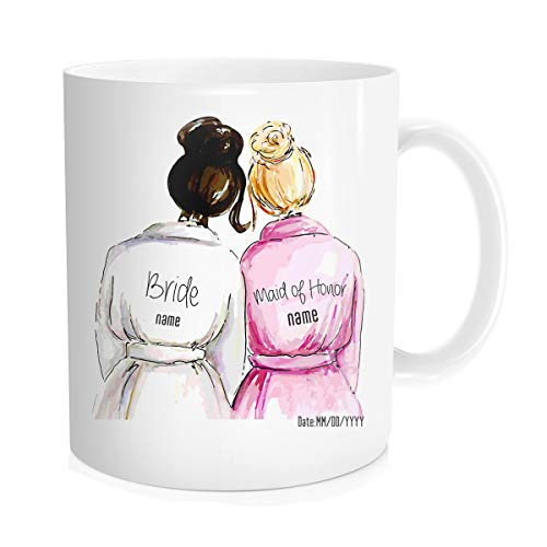 Personalized Novelty Wedding Gifts Coffee Mugs, Custom Add Text Name And Date, Customized Funny Gifts For Bride And Bridesmaid Maid Of Honor, Fine Bone Ceramic White Color 11 OZ