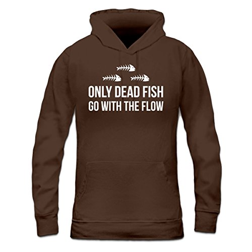 Shirtcity Only Dead Fish Go With The Flow Women's Hoodie M Brown