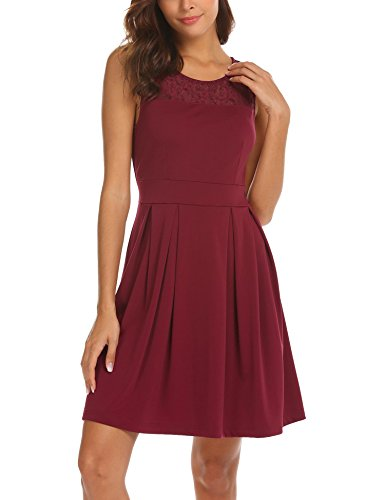 A-line Illusion (SE MIU Women Round Neck Summer Lace Party Cute Flowy Sleeveless Dress, Wine Red, M)