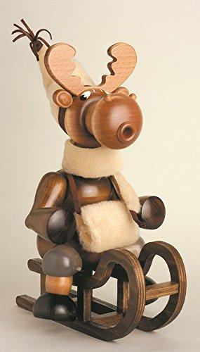 - Smoking figure moose with carriage 29 cm smoke figure Smoking man figurine Incense man ore mountains