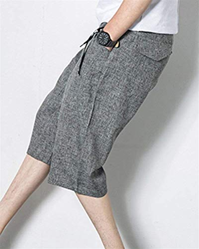 Color Pantalones Laterales Los Playa Grau Hombres Algodón Harén Sólido Verano Ocio Simple Bolsillos Estilo Cordón Con De Cortos 4 3 ZqrZxTB