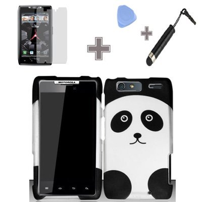 (Case - Screen Protector Film - Case Opener - Stylus Pen-4 Items Combo Rubberized Black White Panda Bear Snap on Design Case Hard Case Skin Cover Faceplate)