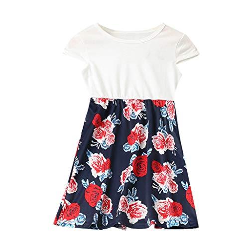 Women's O-Neck Sleeveless Splicing Family Clothes Dress Print Flower Stitching Parent-Child Dress White