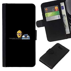 NEECELL GIFT forCITY // Billetera de cuero Caso Cubierta de protección Carcasa / Leather Wallet Case for Samsung ALPHA G850 // Divertidos Droids Robots