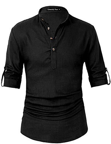 Leisurely Pace Men Transform Roll-up Sleeve Mandarin Henley Neck Linen Shirts (L, 07BK)