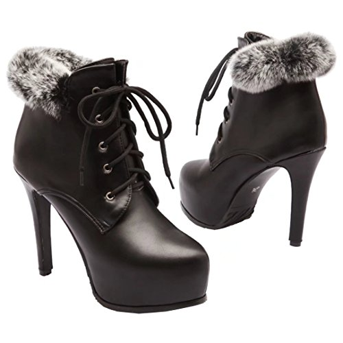 Aiyoumei Vrouwen Lace-up Ronde Neus Stilettos Herfst Winter Enkellaarsjes Met Bont Zwart
