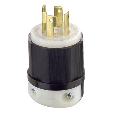 Leviton 2731 30 Amp, 480 Volt 3-phase, NEMA L16-30P, 3P, 4W, Locking Plug, Industrial Grade, Grounding - Black-White