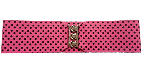 "Silver Clasp 50s Style Cinch 3"" Wide Elastic Belt for Women Junior and Plus Sizes Hot Pink with Black Dots Medium/Large from Hip Hop 50s Shop"