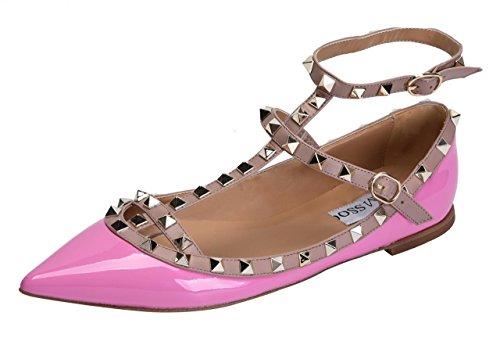 Camssoo Vrouwen Metalen Studs Strappy Gesp Puntige Teen Flats Comfortabele Kleding Pompen Schoenen Paars Patant Pu