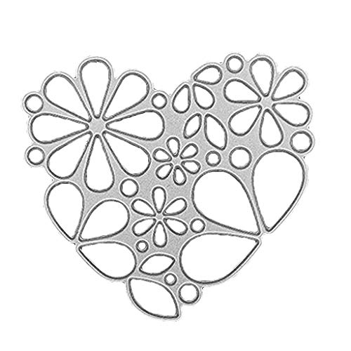 GUINV Cutting Dies,Carbon Steel Flower Heart Shape Embossing Stencil Templates Mold DIY Paper Art Craft Card Label Scrapbook Bookmark