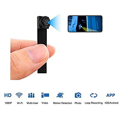 Hidden Spy Camera WiFi 1080P, Nanny Cam Wireless with Cell Phone APP Portable Security Cameras with 8 Hours Working Time/Motion Detection/Loop Recording from Long Pow