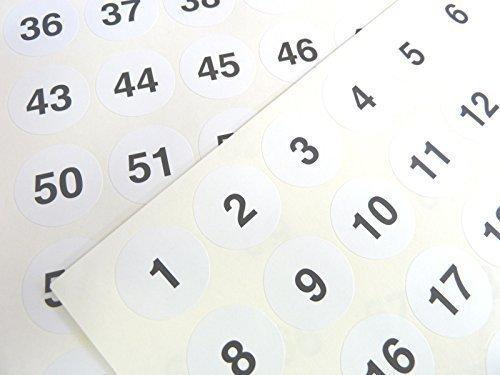 Nummerierung Aufkleber fortlaufende Nummer Sequenz Etikett wei/ß 25mm rund in Folge von 1-70