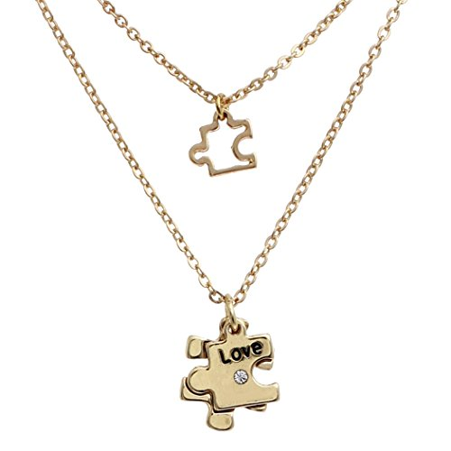 s Women's Double Charm Necklace Set Autism Awareness Puzzle Piece (Gold) ()