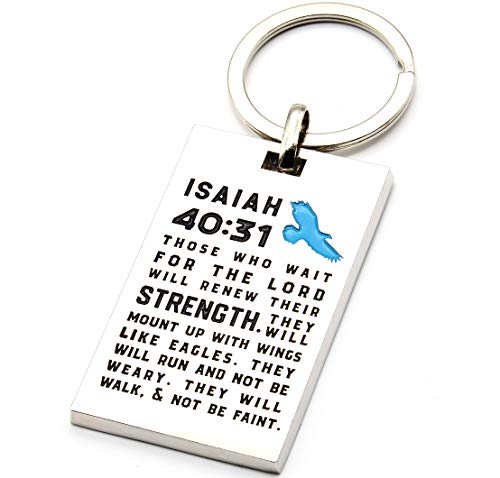 Isaiah 40:31 Bible Verse Key Chain with Engraved Scripture - Those Who Wait for The Lord Will Renew Their Strength. - Christian Religious Faith Healing Prayer Gifts Accessories for Him Her (Bible Verses About Waiting On The Lord)