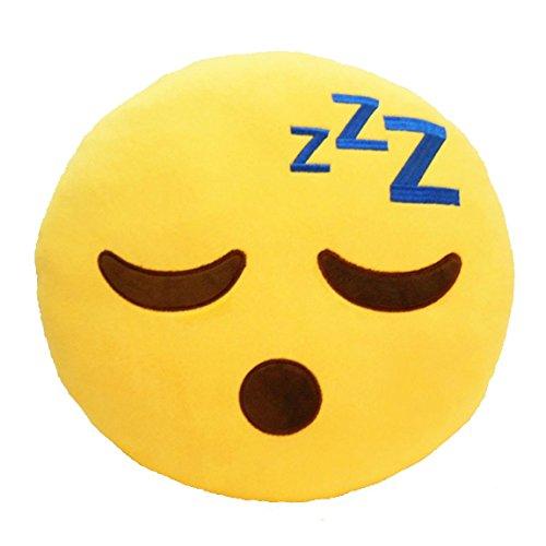LynnWang Design Emoji Pillow for Girls, Round Back Cushion Pillow Emoticon Plush Decorative Toy Pillow for Kids Bedding Living Room Bedroom Nursing Home Kindergardern, Sleeping Face