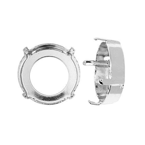(Swarovski Crystal Fancy Stone Setting, Fits #1122 14mm Rivoli, 2 Pieces, Rhodium Plated)