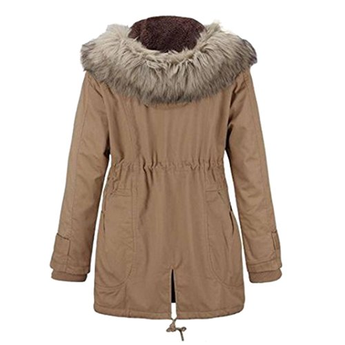 Fluff Fur BURFLY Outwear Faux Warm Jackets Ladies Khaki Casual Hood Thicken with Slim and Coats Cotton Coat Women Long Winter q7nfTT
