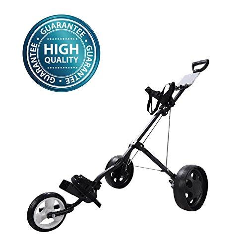 Koval Inc. 3 Wheel Push-Pull Folding Golf Cart Trolley by KOVAL INC.