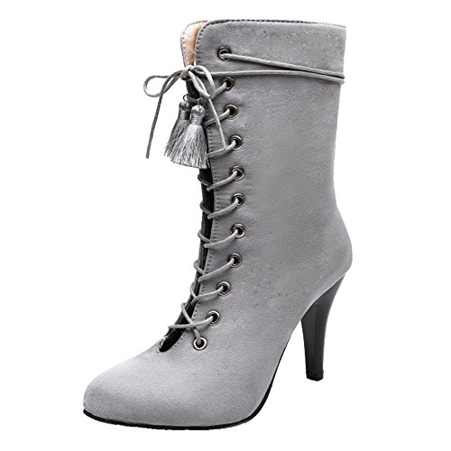 Available Heel Sexy CHICMARK Boots Large Thin and s Grey up Out with Colors and Size Women Hollowed Boots with Lace 5 xCpn8qrpwU