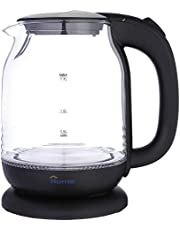 Home K432 Glass Electric Kettle, 1.7 Liters - Clear & Black