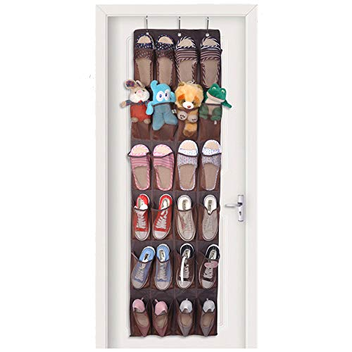 Million Star Non-Woven Fabrics Nylon Mesh Breathable Hanging Shoe Rack Organizer Over the Door 24 Large Pockets Easy Pocket Tennis Shoe Organizer Long Shoes Hanger Holder Rack Wall Hanging (Brown)