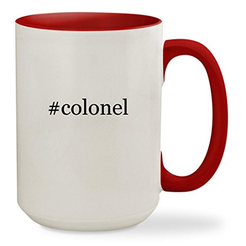 Colonel Rebel Costume (#colonel - 15oz Hashtag Colored Inside & Handle Sturdy Ceramic Coffee Cup Mug, Red)
