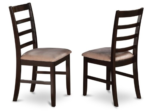 East West Furniture PFC-CAP-C Chairs Microfiber Upholstered Seat with Ladder Back, Set of 2
