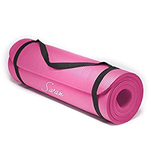 Extra Thick Pink Non Slip NBR YOGA and PILATES MAT 71″x 24″ with carry strap.