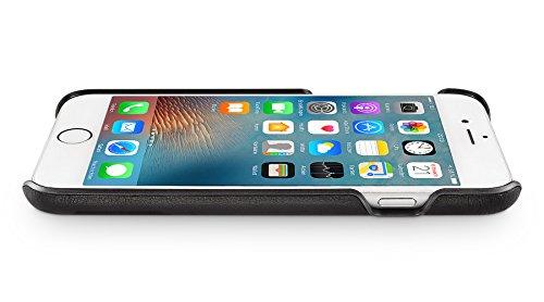 WIIUKA Echt Lederhülle Apple iPhone 7 Schwarz mit Kantenschutz + Panzerglas extra Dünn Premium Design Leder Hülle