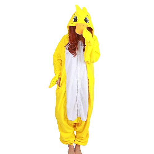 [Datangep Unisex Halloween Christmas Cosplay Costume Animal Onesie Pajamas Yellow Duck S] (One Night Stand Costume For Girls)