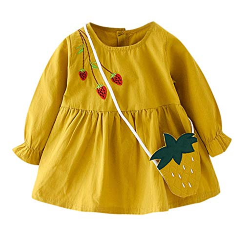 Baby Toddler Girl Spring Autumn Dress,Crytech Cotton Long Sleeve Lovely Strawberry Embroidery Princess Dress and Hand Made Shoulder Bag Newborn Infant Casual Playwear Outfits (12-18Months, Yellow)