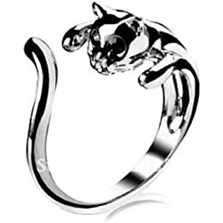 SODIAL(R)Jewelry Ring Adjustable Silver Plated Cat Shape Ring