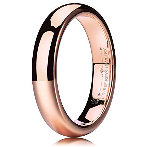 THREE KEYS JEWELRY 4mm Tungsten Carbide Wedding Ring for Women Plated Rose Gold Wedding Band Engagement Ring Polished Comfort Fit Size 8.5 - Gold Metal Fashion Ring