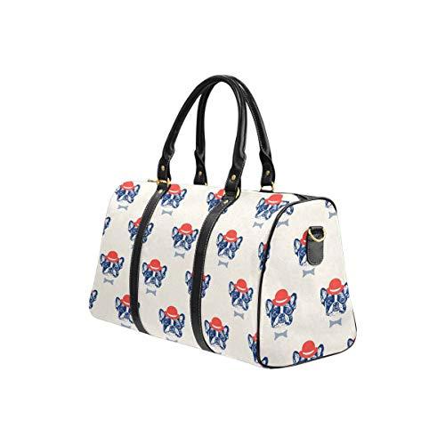 InterestPrint Carry on bag Travel Duffel Tote Unisex Weekender Bag French Bulldog Pattern
