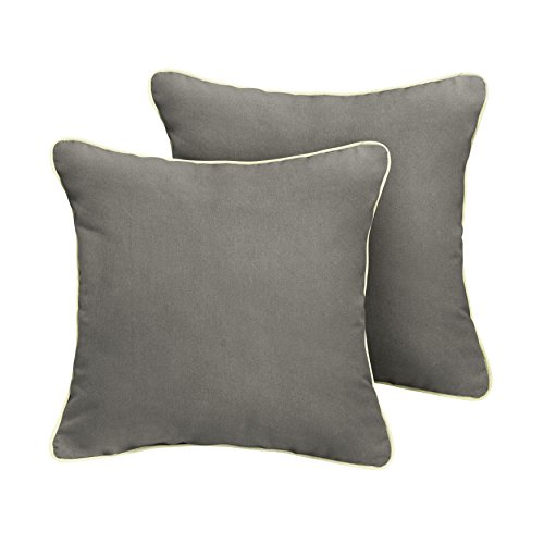 ella Indoor/ Outdoor Corded Pillows, Canvas Charcoal and Canvas Natural, Set of 2 ()