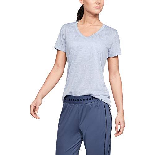 Under Armour womens Tech V-Neck Twist Short Sleeve T-Shirt, Blue Heights (448)/Metallic Silver, Large ()