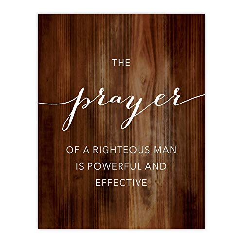 Andaz Press Christian Bible Verses 8.5x11-inch Wood Poster, James 5:16: The Prayer of a Righteous Man is Powerful and Effective, 1-Pack (The Effective Prayer Of A Righteous Man)