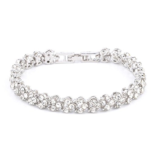 Women Bracelets,Nmch Crystal Diamond Bracelets Gifts,New Fashion Roman Style Bangle (16.5CM, Sliver)