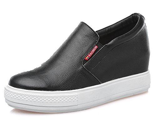 D2C Beauty Women's Platform Slip-on Hidden Heel Sneaker Bootie Shoes – Black 6 M US