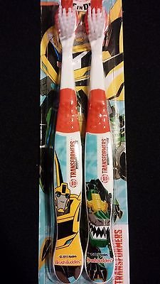 TRANSFORMERS Soft Toothbrush 2pk BRUSH BUDDIES Hasbro Autobot Robots In Disguise