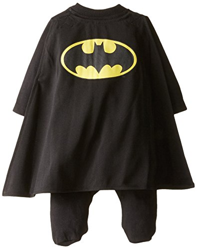 Warner Brothers Baby-Boys Newborn Batman Coverall with Cape, Black, 0-3 Months